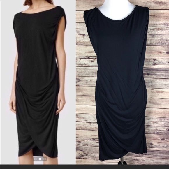 All Saints wrap skirt dress Sz 2 Navy blue